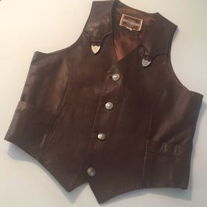 Pioneer Wear Vintage Brown Leather Vest size 40
